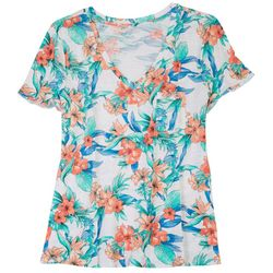 Dept 222 Womens Floral Pocketed T-Shirt