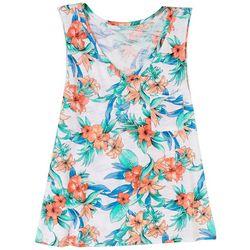 Dept 222 Womens Tropical Print Sleeveless Top