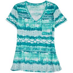 Dept 222 Womens Luxey Print Short Sleeve Top