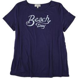 Flora & Sage Womens Beach Day Round Neck T-Shirt