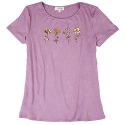 Flora & Sage Womens Foil Flower Short Sleeve Shirt