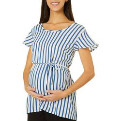 Times Two Womens Maternity Striped Top
