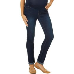 Times Two Womens Overbelly Maternity Roll Cuff Jeans