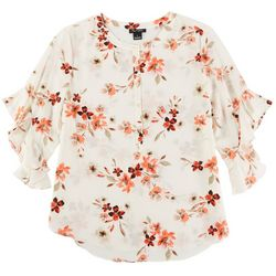 Nue Options Womens Floral 3/4 Sleeve Top  With Ruffles