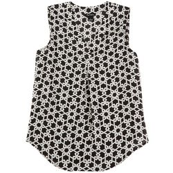 Nue Options Womens Black And White Chain Print Top