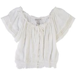 American Rag Womens Solid Short Sleeve Top With Lace