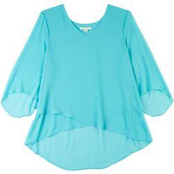 Cooper & Ella Womens Asymmetric Aqua 3/4 Sleeve Top