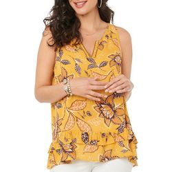 Democracy Womens Floral Rayon Sleeveless Top