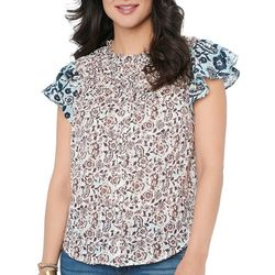 Democracy Womens Scrunched Neck Top