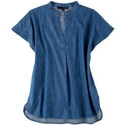 Harve Benard Womens Tencel Over-sized Short Sleeve Top
