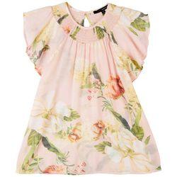 Harve Benard Women's Floral Smocked Short Sleeve Top