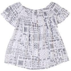 Harve Benard Women's Paisley Smocked Short Sleeve Top