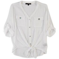 Harve Benard Womens Tie Front 3/4 Sleeve Top