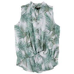 Harve Benard Women's Tropical Tie Front Sleeveless Top