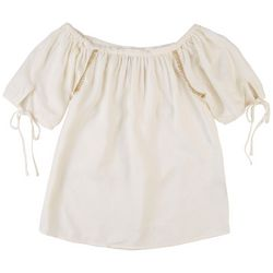 Harve Benard Women's Antique Ruffle Short Sleeve Top
