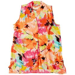 Floral & Ivy Womens Flowy Floral Sleeveless Top