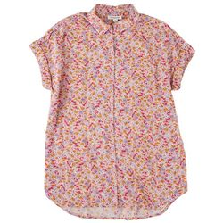 Beach Lunch Lounge Womens Pink Blossom Short Sleeve Top
