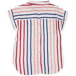 Alexander Jordan Womens Striped Button Down Shirt