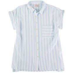 Per Se Womens All-Over Striped Collared Top