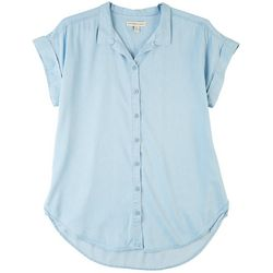 Per Se Womens Solid Collared Short Sleeve Top