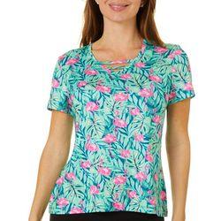 Coral Bay Energy Womens Flamingo Palm Print V-Neck Top