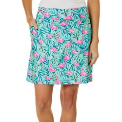Petite Tropical Leaf Flamingo Print Skort