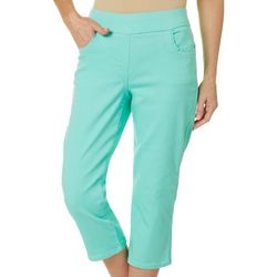 Coral Bay Womens Solid Pull On Flat Front Capris