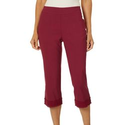 Coral Bay Womens Millennium Pull On Solid Lace Trim Capris