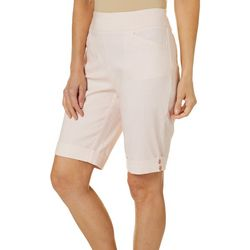 Coral Bay Womens Pull On Stretch Button Hem Bermuda  Shorts
