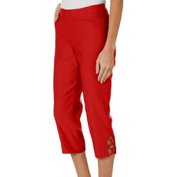 Coral Bay Womens Millennium Stretch Lattice Hem Capris