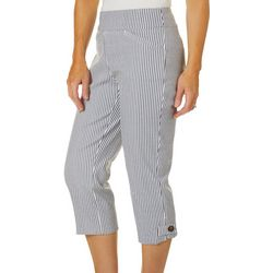 Coral Bay Womens Textured Stripe Print Pull On Capris