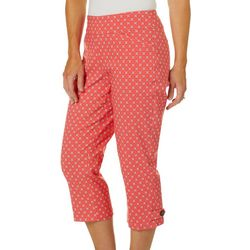 Coral Bay Womens Geometric Floral Print Pull On Capris