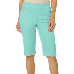 Coral Bay Womens Embroidered Hem Bermuda Shorts