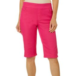 Coral Bay Womens Embroidered Hem Bermuda Shorts