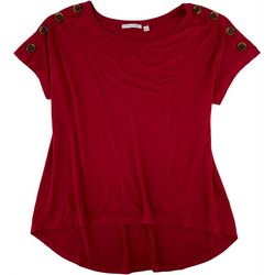 NY Collection Womens Solid Button Shoulder Top