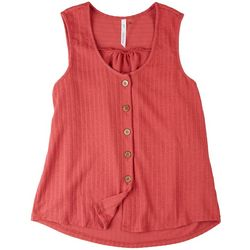 NY Collection Women Button Placket Tank Top
