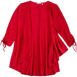 Notations Womens Solid Tie Sleeves Open Cardigan