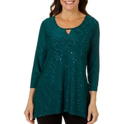Coral Bay Womens Swirl Embellished Top