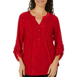 Coral Bay Womens Solid Glitzy Button Placket Top