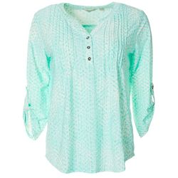 Coral Bay Womens Pleated Dot Print Button Placket Top