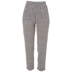 Womens Gingham Print Ankle Pants