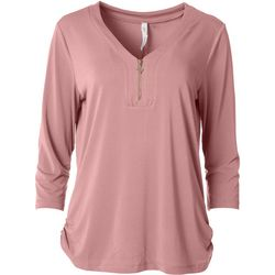 NY Collection Womens Zipper Solid 3/4 Sleeve Blouse