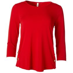 NY Collection Womens Scoop Neck Metal Clasp Top