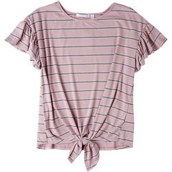 Notations Womens Front Tie Striped Short Sleeve Top