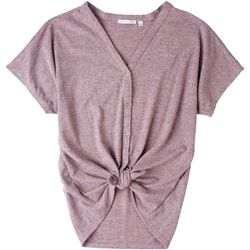 Notations Womens Front Tie Button Down Short Sleeve Top