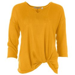Notations Womens Twist Front Waffle Knit T-Shirt