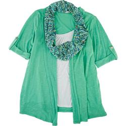 Notations Womens Dotted Scarf Tank & Cardigan Trio Top