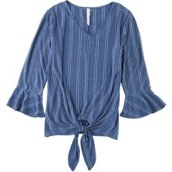 NY Collection Womens Striped Bell Sleeve Top