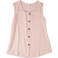 NY Collection Womens Button Down Tank Top