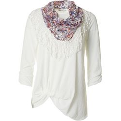 Notations Womens Textured Front Floral Twist Scarf Top